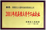 """<div style=""""text-align:center;""""> 2011年度县重点骨干企业 </div>"""
